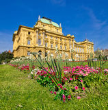 Croatian national theatre square in Zagreb Royalty Free Stock Images