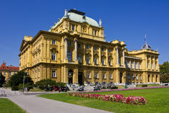 Croatian National Theatre in Zagreb. Exterior view of the Croatian National Theatre in Zagreb in a bright sunny day Royalty Free Stock Photos