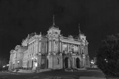 The Croatian National Theatre in Zagreb by night. The Croatian National Theatre in Zagreb commonly referred to as HNK Zagreb, is a theatre, opera and ballet royalty free stock image