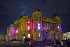Croatian National Theatre in Zagreb. Shot made at White night event / light instalations inside the buildings Royalty Free Stock Image