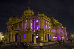 Croatian National Theatre in Zagreb. Shot made at White night event / light instalations inside the buildings Stock Image