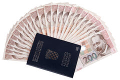 Croatian passport with money Stock Photography
