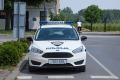 Croatian police forces car built by Ford. The Croatian police is also known as MUP, or Policij royalty free stock image