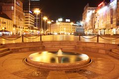 Croatian's main square. Square in Europe, Croatia, Zagreb, named Jelacic's square shot at night Stock Image