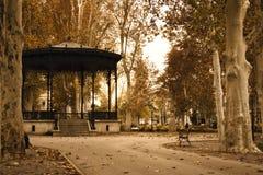 Croatian's park. Famous park in Zagreb. Sepia tones Royalty Free Stock Photo