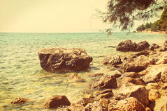 Croatian seascape - vintage version Royalty Free Stock Images