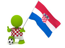Croatian Soccer. Illustration of a man in a Croatian soccer jersey with a ball holding a flag. Part of my cute green man series Stock Photography