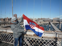 Croatian soccer fan in New York Stock Images