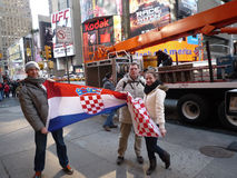 Croatian soccer fans in New York Royalty Free Stock Image