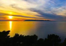 Croatian sunset - Makarska. Croatian sunset in Makarska, Makarska Riviera, Croatia royalty free stock images