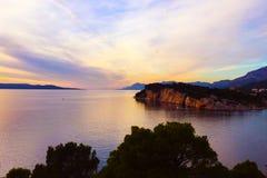 Croatian sunset - Makarska. Croatian sunset in Makarska, Makarska Riviera, Croatia royalty free stock photos