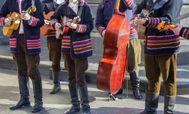 Croatian tamburitza musicians in traditional folk costumes Royalty Free Stock Photography