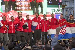 Croatian tennis Team on welcome home celebration royalty free stock image