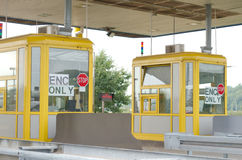 Croatian Toll Booths. Two Yellow Toll Booths on the Croatian Motorways Royalty Free Stock Image