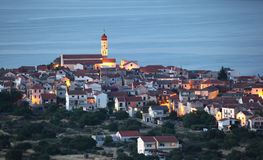Croatian town Betina at dusk Royalty Free Stock Images