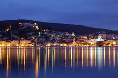 Croatian town Sibenik at dusk Royalty Free Stock Images