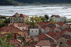 Croatian town of Ston with Salt Production Royalty Free Stock Images