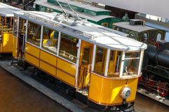 Croatian trolleys in Zagreb. Yellow trolley. Croatian  trolleys in Zagreb.  Transportation photography in Croatia. Yellow trolley Stock Images