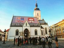 Croatian wedding. St. Mark& x27;s Church, Zagreb - shot taken by travelling. Wedding with a white baloon Stock Photography