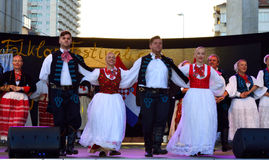 Croatians folklore dancers stage performance Royalty Free Stock Images