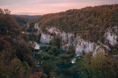 Croatie Plitvice Abaissez les lacs inférieurs lakes dans Autumn Morning Photos stock