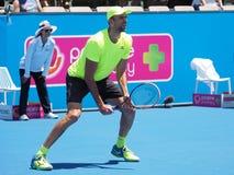 Croatioan gracz w tenisa Ivo Karlovic narządzanie dla australianu open Zdjęcie Stock