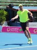 Croatioan gracz w tenisa Ivo Karlovic narządzanie dla australianu open przy Kooyong Klasycznym Powystawowym turniejem Obraz Stock
