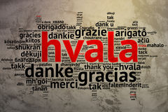 Croation: Hvala, Open Word Cloud, Thanks, Grunge Background Stock Images
