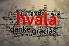 Croation: Hvala, Open Word Cloud, Thanks, Grunge Background Stock Images