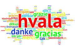 Croation: Hvala, Open Word Cloud, Thanks, on white Stock Image
