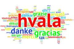 Croation: Hvala, Open Word Cloud, Thanks, on white Stock Image