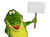 Croc with a blank sign Royalty Free Stock Photo