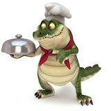 Croc with food cloche. 3d render cartoon of croc collection Royalty Free Stock Photos