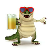 Croc with glass of beer Stock Images