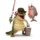 Croc go Fishing Royalty Free Stock Photography