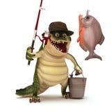 Croc go Fishing. 3d render illustration cartoon of croc series Royalty Free Stock Photography