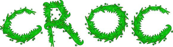Croc Message. Cartoon graphic illustration of the word CROC made up of lots of little crocodiles isolated on white Royalty Free Stock Photo