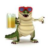 Croc met glas bier Stock Afbeeldingen