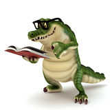 Croc reading book. 3d render cartoon of croc collection Royalty Free Stock Image