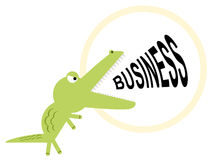 Croc is ready for business. A crocodile shouts out the word business Royalty Free Stock Photos