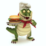 Croc showing burger. 3d render cartoon of croc collection Royalty Free Stock Photo