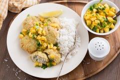 Crocchette di pesce con la salsa del mango ed il riso bianco, vista superiore Fotografia Stock