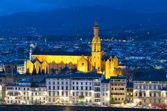 大教堂三塔Croce在佛罗伦萨,意大利 免版税图库摄影