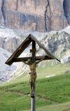 Croce al passaggio Pordoi, dolomia italiane Fotografie Stock Libere da Diritti