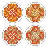 Croce celtica del cuore di vettore Progettazione geometrica dell'ornamento etnico T-SH Fotografie Stock