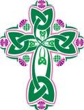Croce celtica di immagine di vettore con il cardo selvatico dei fiori Fotografie Stock Libere da Diritti