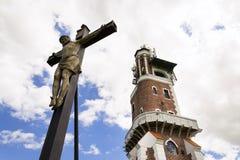 Croce con l'allerta di Schillers vicino a Kryry, repubblica Ceca Fotografie Stock