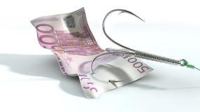 Crochet amorcé euro par billet de banque Photographie stock