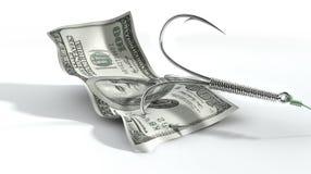 Crochet amorcé par billet de banque du dollar Images libres de droits