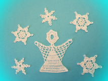 Crochet angel and snowflakes Royalty Free Stock Photo